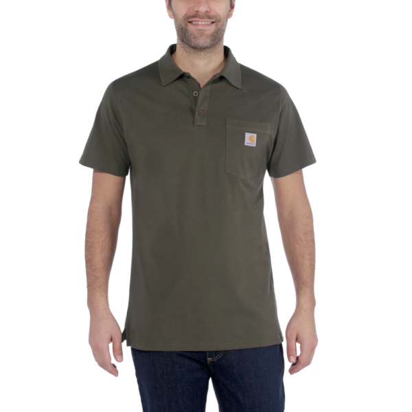 Carhartt - FORCE COTTON DELMONT POCKET POLO S MOSS